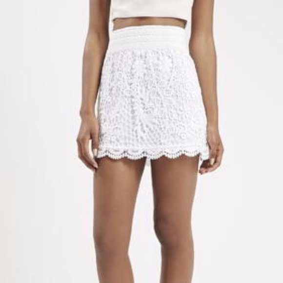 TOPSHOP Cutwork Crochet Knit Mini Skirt